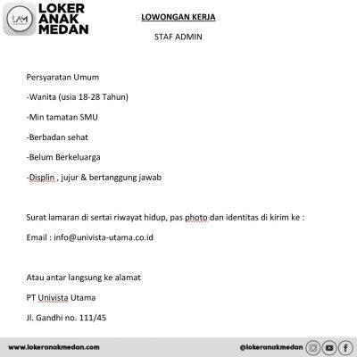 Lowongan Kerja PT. Univista Utama Medan